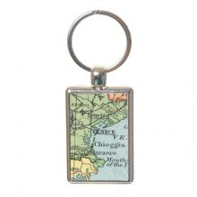 Vintage Map Keyring Displaying Your Chosen Location- Unique Wedding, Anniversary Gift, Housewarming, Bon Voyage Present